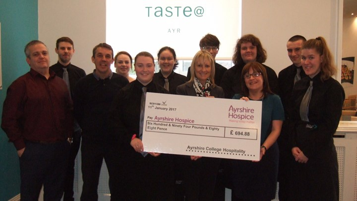 College Hospitality team serves up £700 to Ayrshire Hospice