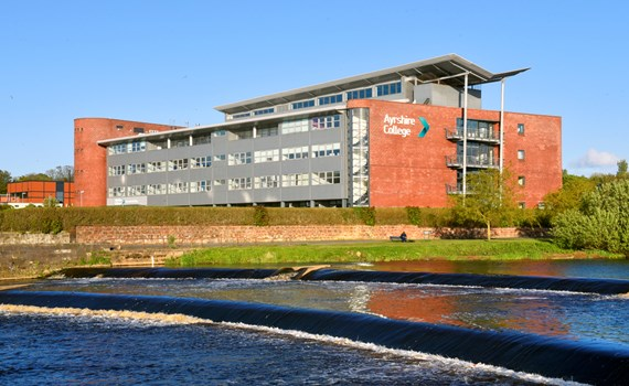 Front of the Ayrshire College Ayr Campus Riverside Building
